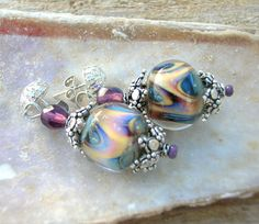 Lampwork Earrings Glittering Silver and Silvered by CandanImrak, $34.00 sold