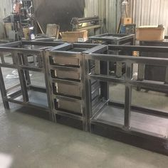 The makings of a Rusticana bathroom vanity. It will be awesome. Soon to be seen at urban farmhouse designs. Steel Furniture, Custom Furniture, Furniture Design, Urban Farmhouse Designs, Garage Atelier, Vintage Industrial Furniture, Kitchen Shelves, Bathroom Furniture, Wood And Metal