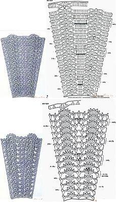Узоры из японского журнала, рекомендуемые для расширения сверху вниз (для юбок, например). Подборка 2