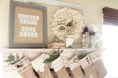 adorable mantel display and such sweet stockings from Whimsical Treasures