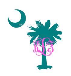 Palmetto Tree Monogram Decal