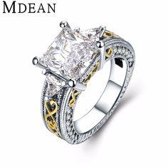 MDEAN 비쥬 반지 화이트 골드 도금 반지 패션 CZ 다이아몬드 보석 빈티지 반지 Bague 여성 반지 액세서리 MSR825