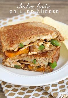 Chicken Fajita Grilled Cheese Sandwiches - Somewhat Simple