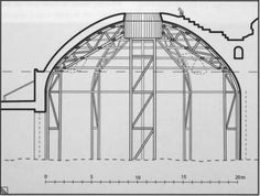 """""""Centering"""" is wooden frame over erected to support the masonry comprising the dome before it is complete.   Brunelleschi's Duomo in Florence (1420s) was the first dome to be constructed without centering because of its large size."""
