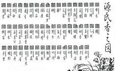 源氏香之図(Genji-Ko-no-Zu)Ko-no-Zu is a kind of Kumiko or a design consisting of longitudinal and horizontal lines used as a pattern of artistic work in Kodo.