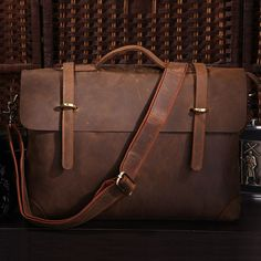 "Handmade+Vintage+Leather+Briefcase+/+Leather+Messenger+Bag+/+13""+15""+MacBook+13""+14""+Laptop+Bag    This+handmade+leather+bag+is+made+with+selected+materials.+The+properties+of+Antique+leather+and+vintage+design+make+this+item+unique.+A+truly+one+of+a+kind+item.+  All+hand+stitched,+works+excellen..."