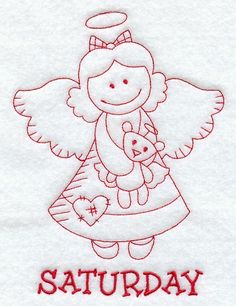 Vintage Embroidery Designs Machine Embroidery Designs at Embroidery Library! - A Days of the Week Redwork Angels Design Pack - Sm Learn Embroidery, Christmas Embroidery, Machine Embroidery Patterns, Vintage Embroidery, Embroidery Applique, Cross Stitch Embroidery, Embroidered Quilts, Quilting, Vintage Design