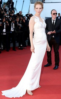 White Bridal Gown is Trending at #Cannes2014 Uma Thurman in Marchesa white birds embellished white gown with back tail at the Red Carpet during #Cannes Film Festival 2014 #fashion