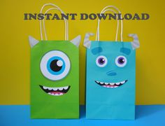 Printable Monsters Inc Party Favor Bags/ by CreativePartyStudio