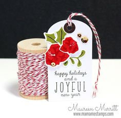 Maureen Merritt featuring WPlus9 Merry & Bright stamps and dies, Merriest Wishes stamp set and the Timeless Tags 2 die.