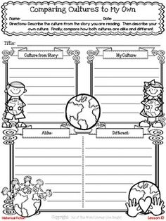 Use with Unit 1 Week 2 or Unit 1 Week 6 Culture Freebie! This resource contains a lesson for both reading and writing workshops on comparing a culture from a book to your own and showing characters' feelings in writing. It also includes a printable graphic organizer and thinkmark for assessment.