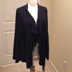 Free People bow cardigan  This clasps closed if you want it to. Has some pilling. Fringe detail. Box detail on the back. Really cute. 60% cotton and 40% polyester Free People Sweaters Cardigans