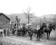 Pic taken at Basic City of native mountain men Joseph F. Wood and son who are hauling a wagon load of wooden barrels for apples. Courtesy of Phil James and Secrets of the Blue Ridge. Waynesboro Virginia, Old Dominion, Shenandoah Valley, Mountain Man, Historical Pictures, Blue Ridge, Old Pictures, West Virginia, Old Things