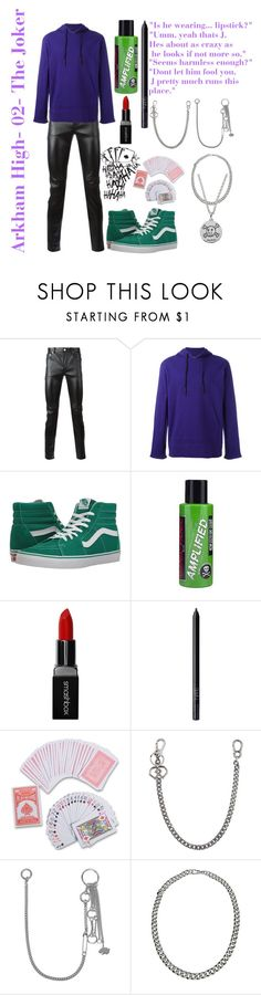 """""""Arkham High- 02- The Joker"""" by oceanforthestars ❤ liked on Polyvore featuring jared, Yves Saint Laurent, Y-3, Vans, Manic Panic NYC, Smashbox, NARS Cosmetics, Dsquared2, Valentino and Gucci"""
