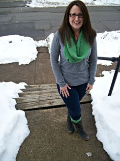 boot socks with circle scarf from an old sweater. - just cut off arms for leg warmers, cut at torso for circle scarf