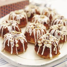 MADE: Mini Almond Bundt Cakes (Frostings: coffee, lemon, vanilla, cherry?) - tasty, but a little dense and needs more flavor in the cake itself