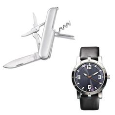"The perfect gift for the man who is on the go! Men's silvertone round faced rubber style strap watch and a multi-function silvertone pocket knife to assist any task that might come his way. Pocket Knife includes Blade, Scissors, Corkscrew and Screw Driver.· Band: 9 1/2"" L x 15/16"" W with Buckle closure· Case: 1 11/16""· Face: 1 3/8""· Battery: Replaceable SR626SW· Movement: Quartz Pc21J· Imported"
