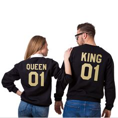 Men womens Casual Lovers sweatshirts pullovers QUEEN KING 01 Letter Printed Couple Fashion Tops Cotton hoodies sudaderas 2016
