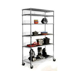 Trinity Garage Shelving Unit EcoStorage Wire Shelving Rack with Wheels Garage Shelving Units, Steel Shelving Unit, Shelving Racks, Rack Shelf, Metal Shelves, Wire Shelving, Corner Shelves, Garage Storage, Adjustable Shelving
