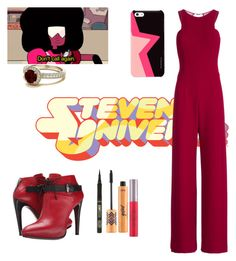 """Garnet"" by mrsstylik1999 ❤ liked on Polyvore featuring Halston Heritage, COSTUME NATIONAL and tarte"