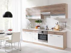 <p>Jednoradová kuchyňa je vhodná pre tých, ktorí majú malý byt alebo veľa nevaria. Foto: mt-nabytok.sk</p> Kitchen Cabinets, Table, Furniture, Design, Home Decor, House, Ideas, Decoration Home, Room Decor