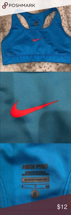 e23355672b Blue nike sports bra Good condition  slight crack on logo Make me an offer!