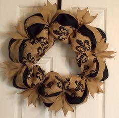 Burlap Wreath with Fleur De Lis, Burlap Ribbon-Patayla Floral Designs Burlap Crafts, Wreath Crafts, Diy Wreath, Wreath Ideas, Burlap Projects, Deco Mesh Wreaths, Door Wreaths, Burlap Wreaths, Country Wreaths