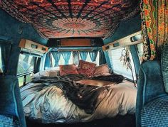 Aquamarine Round Mandala Tapestry Lady Scorpio Customer Torycakes enjoying the van life with her mandala tapestry wall hanging decor from