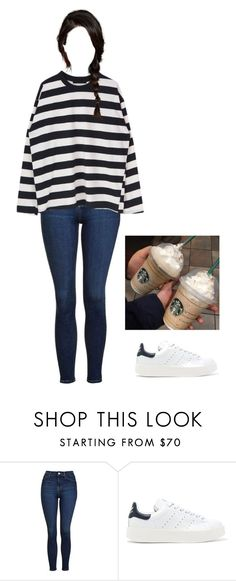 """""""Coffee w/ Tae ^^"""" by baekyeoltaekook ❤ liked on Polyvore featuring Topshop and adidas Originals"""