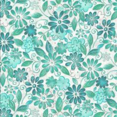 teal quilting fabric | Teal-Floral-White-Quilt-Fabric-Silver-Outline-Inspiration-3-Cancer