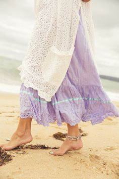 Summer Gypsy  Petticoat, $129 AUD.  Lovely lavender gypsy skirt, with the most heavenly detail of eyelit lace and pastel blue ribbon along the hem.