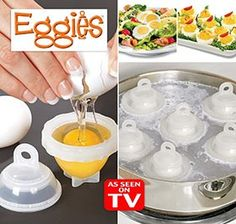 EGGIES™ let you make tasty, hard-boiled eggs outside of the shell! Enjoy hard-boiled eggs without having to peel a single shell. Just crack raw eggs into these egg-shaped molds, place in boiling water for a few minutes, and twist open. You've got a finished hard-boiled egg white with a yolk center that you can decorate, slice or serve any way you wish. Includes 6 dishwasher-safe plastic molds.  $9.98 for a set of 6  2 sets of 6 for $18.50
