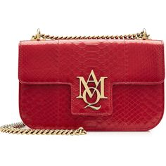 Alexander McQueen Leather Shoulder Bag (7.270 DKK) ❤ liked on Polyvore featuring bags, handbags, shoulder bags, red, real leather purses, shoulder bag purse, genuine leather shoulder bag, leather shoulder bag and red handbags