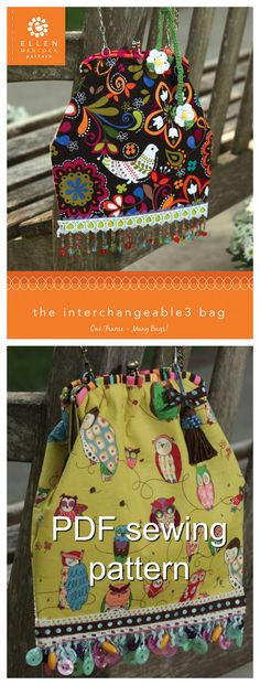 PDF Download of the Interchangeable 3 Bag DIY Sewing Pattern. The secret of the Interchangeable Bag style is that the clever purse frame allows you to slide one bag off, and the next one on! Create multiple bags, and reuse the frame!