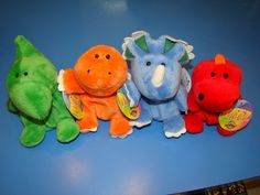 These plush dinosaurs are not intimidating! Cute and cuddly, these dinos definitely have a soft side! $4.99