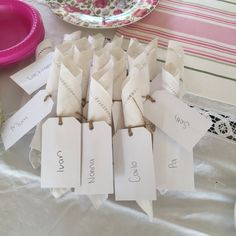 Napkins & place cards. Antique cloth napkins rolled. String. Plain white cards.