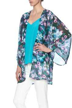 Gorgeous floral kimono in vibrant hues of blue, green and purple. Lightweight. Oversized fit.   Floral Print Kimono by Let Them Eat Cake. Clothing - Jackets, Coats & Blazers - Kimonos & Wraps New Orleans, Louisiana
