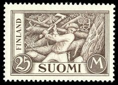 "Postage stamp depicting a Finnish log cutter (""Woodchopper"" by Akseli Gallen-Kallela)"