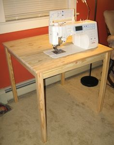 DIY Sewing Table-Great tutorial. I did this with a MCM sewing table that already had a hole cut in it. I added the platform and set it so that my plastic sewing platform that I already had would sit flush with the table. It's perfect!