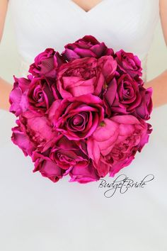 Davids Bridal Raspberry Wedding Bouquet with magenta peonies and sangria roses on mercury bridesmaids dresses