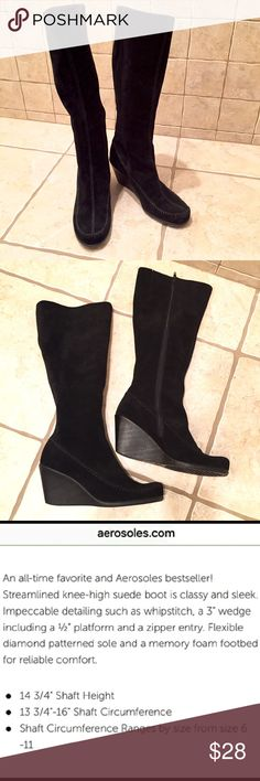 AEROSOLES Suede Gather Round Boots Good pre-worn condition. Amazingly comfortable with a flexible rubber sole and wedge heel. SHOP WITH CONFIDENCE 5 ⭐️Seller - ❤Read My Love Notes❤️ SUGGESTED USER CLOSET                           100's of listings sold *Fast Shipping* NO TRADES OR OFF POSH TRANSACTIONS AEROSOLES Shoes Heeled Boots