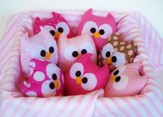 3 lovely pink mini owls soft and nice.