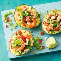 Avocado Filled With Prawns & Feta