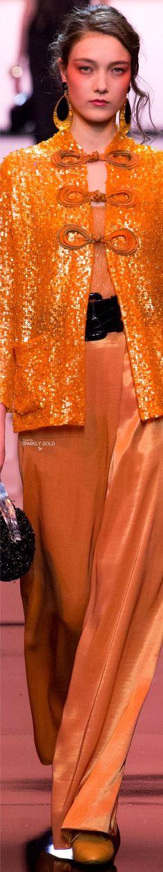 Armani Privé Spring 2017 Couture ~ETS #orange #sparkles