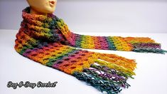 How To Crochet A Unisex Scarf | Taste The Rainbow | Bag O Day Crochet Tu... Crochet Scarf Youtube, Crochet Scarf Easy, Crochet Poncho, Crochet Scarves, Free Crochet, Rainbow Bag, Rainbow Crochet, Crochet Stitches Patterns, Scarf Patterns