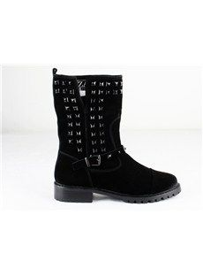 Elegant Genuine Leather Flat Heels Closed-toes Women's Boots