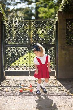 The new Richmond Red corduroy with Ivy Prep Plaid Pearl Prep Skirt will be the sweetest little ensemble for your little girl. Pair with a Maude's Peter Pan Col