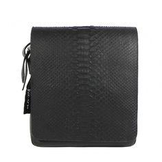 Ghibli luxury python men shoulder bag vertical messenger black colour Handmade in Italy