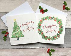 Traditional christmas cards, watercolour cards, christmas tree, christmas wreath