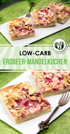 Der Erdbeer-Mandelkuchen vom Blech ist perfekt für Familienfeiern, das Kaffeekränzchen oder auch für andere Anlässe. Der Kuchen ist Low Carb, glutenfrei und zuckerfrei.